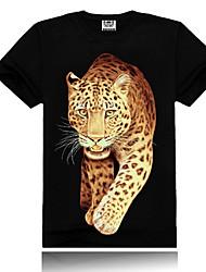Series animales del rock para hombre creativo todo el algodón deportivo camiseta con la impresión salvaje estereoscópica 3D