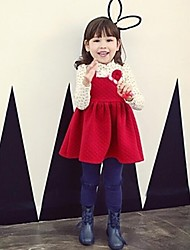 Girl's Long-sleeved Autumn  Warm Cherry Quilted  Dress