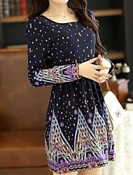 Women's Casual Print Dress , U Neck Mini / Above Knee Chiffon