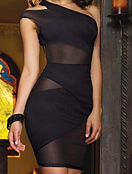 Women's Sexy One-shoulder Mesh Splicing Bodycon Dress