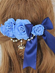 Blue Rose and Bow Sweet Princess Lolita Barrette