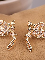 Pretty Jewelry  Small  Champagne  Color   Gold-plated Drill Angel Symmetric  Stud Earrings for Women