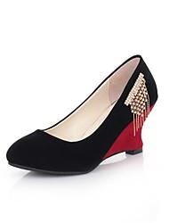 Damenschuhe - High Heels - Kleid - Kunstleder - Keilabsatz - Rundeschuh - Schwarz / Blau / Rot