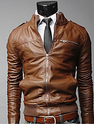 Men's British Solid Color Stand Collar Coat