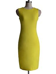Women's Work Sheath Dress,Solid Crew Neck Midi Sleeveless Black / Yellow / Purple All Seasons
