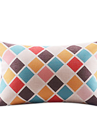 Colorful Lattice Rec Cotton/Linen Decorrative Pillow Cover