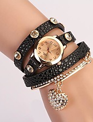 C&D Fashion Women Dress Watches Heart-shaped Diamond Pendant Leather Strap Watches XK-78