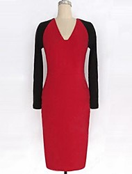 Women's Work Sheath Dress,Color Block Deep V Knee-length Long Sleeve Red / White Cotton Spring
