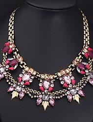 retro Colored Gemstone colar das mulheres