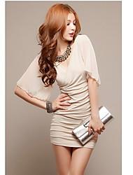Meina Nouveau modèle coréen d'été Sexy Halter Off épaule mousseline de soie plissée Robe