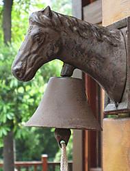 O chefe do Europeu rústico retro Cavalo de Ferro Forjado Plain Campainhas