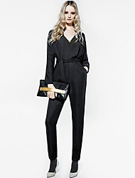 RICHCOCO Women's Slim High Waist V-Neck Long Sleeve Jumpsuit Pants in Top Quality