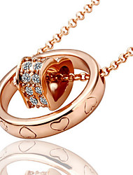 Vintage/Cute/Party/Work/Casual Rose Gold Plated/Rhinestone The circle set heart inlaid CZ Pendant Necklace