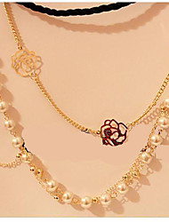 Korean Jewelry Multilayer Rose Flower Pearl Strand Necklace
