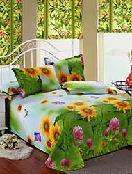 Duvet Cover Set,4-Piece Sunflower Print Full Size
