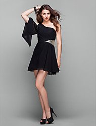 TS Couture Cocktail Party Prom Holiday Dress - Elegant Little Black Dress A-line One Shoulder Short / Mini Chiffon withSide Draping