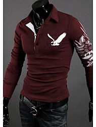 nono  Eagle Tattoo Printed Long Sleeve Lapel T-Shirt (Wine)