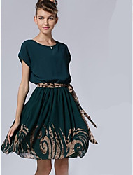 Women's Print Dress , Casual Round Neck Short Sleeve Pleated