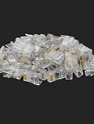 RJ45 8 pines ABS Modular Plug Connector Transparente 50 PCS