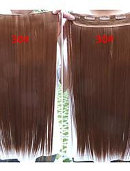 Venda quente colorido Atacado Brown grampo na extensão do cabelo 24inch cabelo sintético para Mulheres