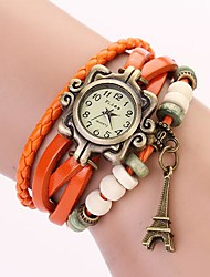 C&D Genuine Leather Vintage Watch, Tower Pendant Bracelet Wristwatches XK-99