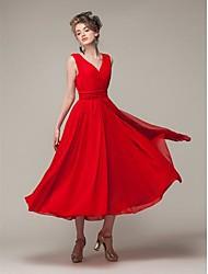 TS Deep V Pleated Dress , Chiffon Midi Sleeveless