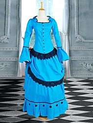 Blue and Black Long Sleeves Mermaid Victorian Bustle Lolita Dress
