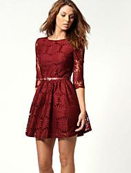 кружева сплошной цвет 3/4 рукав платья