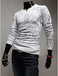 LangTuo European Fashion Round Collar Tattoo Long Sleeve T Shirt(White)
