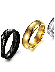 Rings Fashion Stainless Steel Gold/Silver Band Rings 3 Colors Letter Lord Rings Black Jewelry Gift for New Year Halloween 7 / 8 / 9 / 10 / 11 / 12