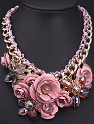 Women's European and American Luxury Pink Flowers Gemstone Necklace