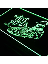 S023 Fresh Hot Pizza Vendido Aquí la luz de neón