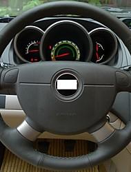 XuJi ™ Black Genuine Leather Steering Wheel Cover for Chevrolet Lova Chevrolet Aveo