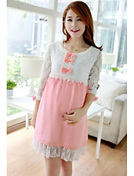 Pregnant Women Cute Bow Pink/Green Mid-long Dress Maternity Lace Patchwork Chiffon Dresses