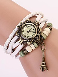 C&D Genuine Leather Vintage Watch, Tower Pendant Bracelet Wristwatches XK-100