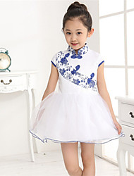 BB&B Upscale Children's Clothing Blue And White Porcelain Cotton Lace Splicing Short Sleeve Mini Dress(Screen Color)
