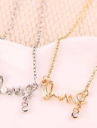 Femme Pendentif de collier Alliage Amour Mode Or Argent Bijoux Pour Soirée 1pc