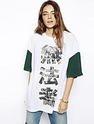 Col rond Caractère chinois de femmes T-shirt impression Boy Friend style