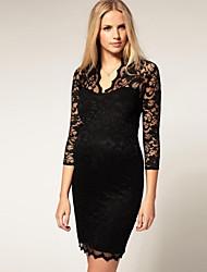 Cuello en V vestido de encaje de la Mujer
