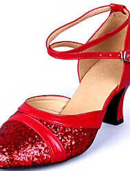 Scarpe Donna Mostra Paillette Pelle Arch Strap Chunky Heel Dancing Shoes Heel 6CM (Red)