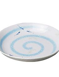 Blue Fish ventaglio tondo in ceramica Piatto Cena, W19cm xL19cm xH3.5cm