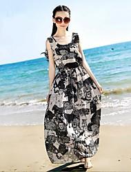 Mulheres Rodada Bohemia Chiffon Maxi Beach Dress