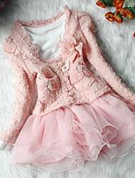 meisje stevige roze / beige rok set, leuke kemphaan kraag lange mouwen bloem