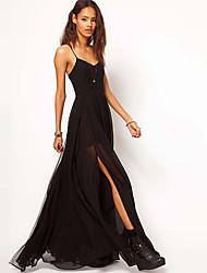 Rxhx Correa vestido sin mangas vestido de Maxi Solid Color (Negro)