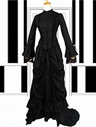 Long Sleeve Floor-length Chapel Train Turtle Neckline Mermaid Style Black Cotton Classic Victorian Lolita Dress