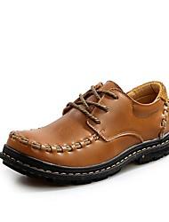 Hombres del cuero del talón del dedo del pie Square Flat Fashion Sneaker con cordones de los zapatos (más colores)
