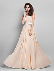 Floor-length Georgette Elegant Bridesmaid Dress - Sheath / Column StraplessApple / Hourglass / Inverted Triangle / Pear / Plus Size /