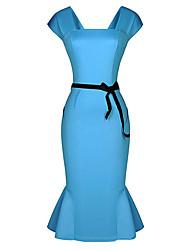 Lishang Elegante Vintage Ruffle Equipaggiata Fishtail Dress