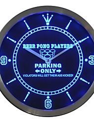 Aparcamiento Beer Pong jugador único regalo Bar muestra de neón LED reloj de pared
