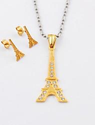 Moda titanio acciaio Diamonte Torre Eiffel collane e orecchini Gioielli Set